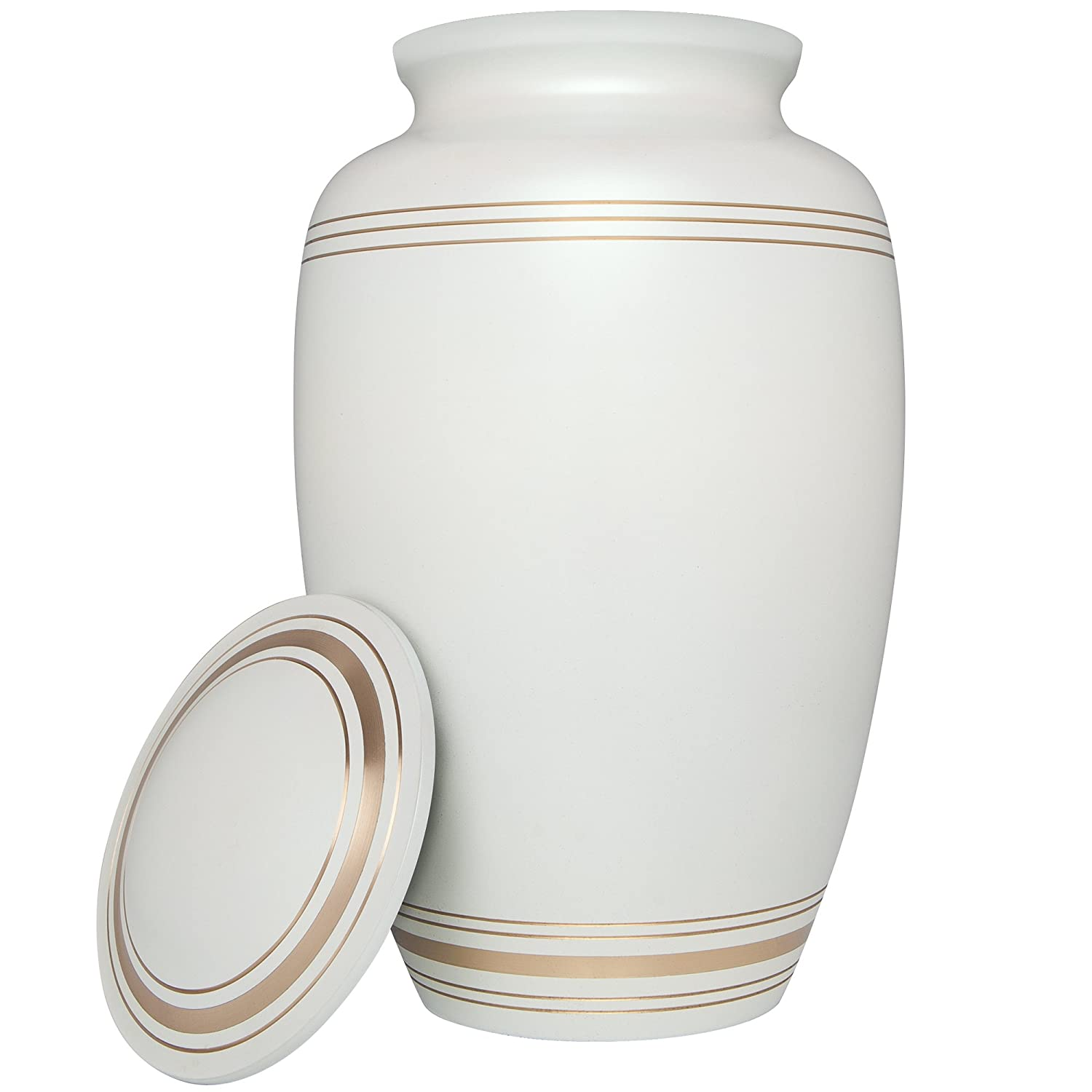 White Funeral Urn by Liliane Memorials – Cremation Urn for Human Ashes – Hand Made in Brass – Suitable for Cemetery Burial or Niche – Fits Remains of Adults up to 200 lbs – Classic Model