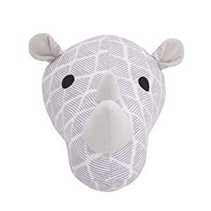NoJo Grey & White Rhino Plush Head Wall Decor, Grey, White