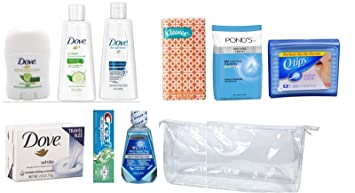 Travel Size Pack,Dove Deodorant + Body Wash + Repair Shampoo + Crest Toothpaste +