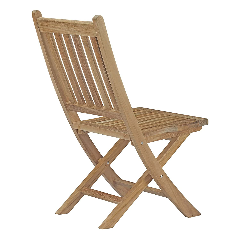 Modway Marina Teak Wood Outdoor Patio Folding Chair in Natural