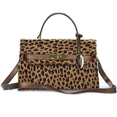 d74fa8727592 Giordano Italian Made Leopard Print Cowhide and Bronze Leather Small  Structured Handbag
