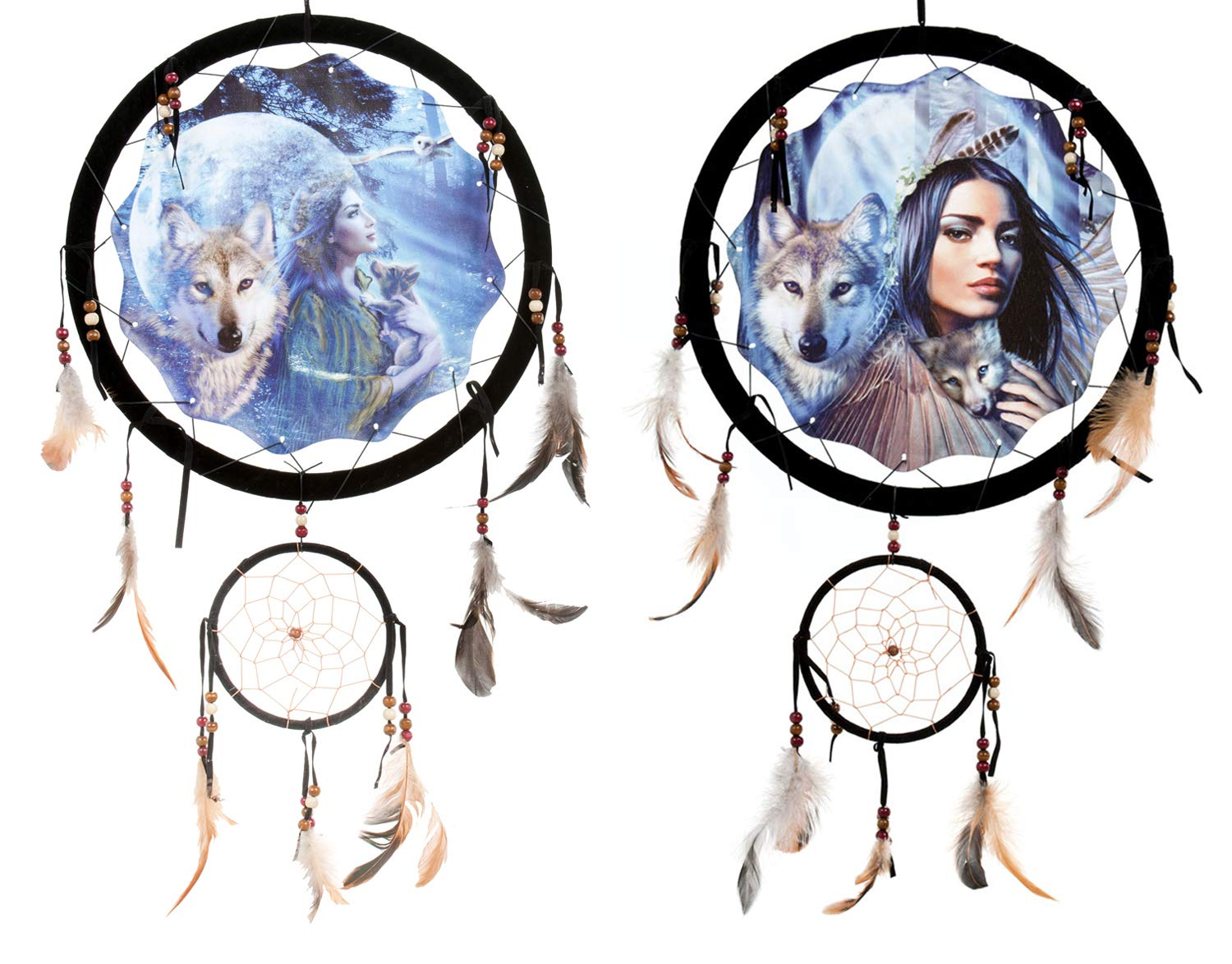 OBI 13'' Dream Catcher Maiden with Wolves Double Dreamcatcher Wildlife Wolf Mandella Reproduction Wall Hanging Decor (2 Pack Wolf Maiden Dream Catcher)