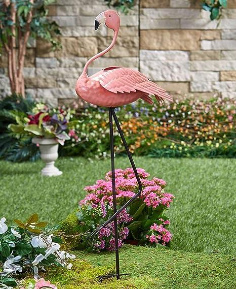 Amazon.com: The Lakeside Collection Metal Bird Planters Flamingo ...