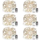 6 Pack Fairy Lights Fairy String Lights, Warmtaste 8 Modes Remote Control 50 LED 16.4ft String Lights Copper Wire Battery Operated Waterproof Firefly Lights for Bedroom Wedding Festival Decor