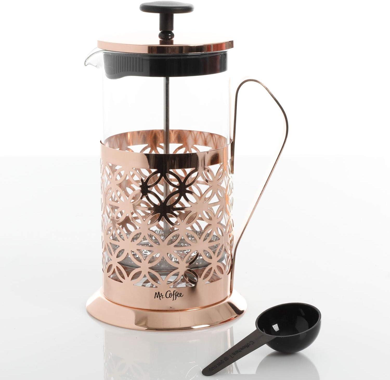 Mr. Coffee Trellise - Cafetera de cristal con cuchara, color oro rosa: Amazon.es: Hogar
