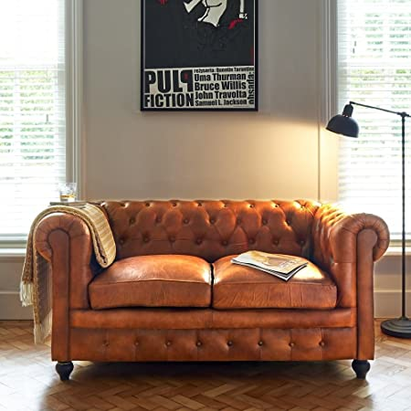 Leather Chesterfield 2 Seater Sofa Vintage Tan: Amazon.co.uk