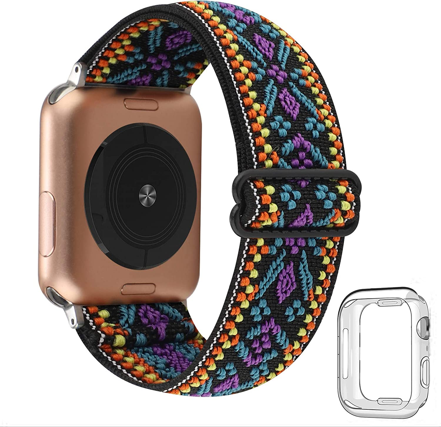 Adjustable Stretchy Solo Loop Nylon Strap Compatible with Apple Watch Elastic Band 38mm 40mm iWatch Series SE/6/5/4/3/2/1 (Aztec Boho with Series 6/5/4 Clear Case, 38mm/40mm)