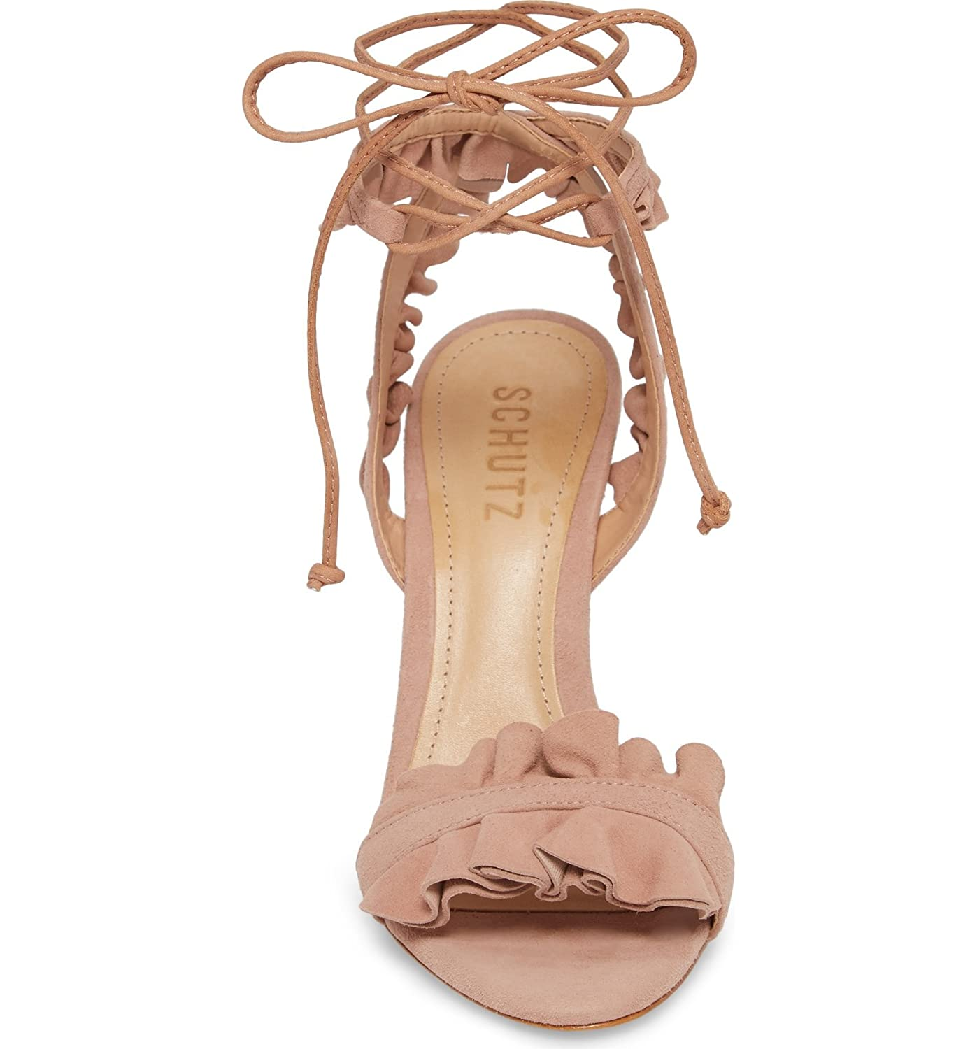 830271ed840f8 Amazon.com: SCHUTZ Irem Peach Blush Suede Tie up Ruffle High Heel ...