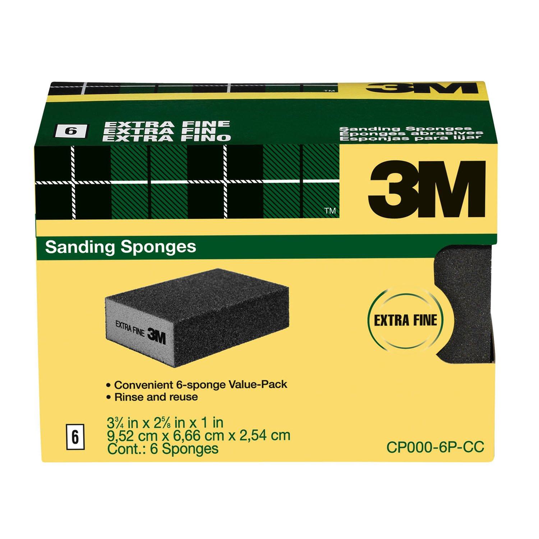 3M Sanding Sponge, Extra Fine Grit, 6-Pack by 3M