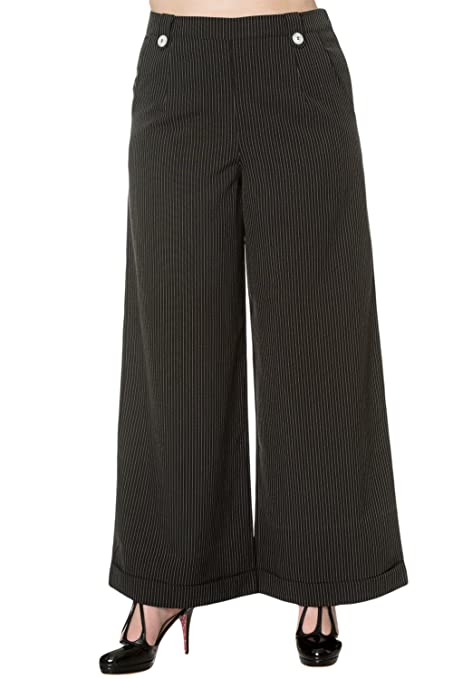 1920s Style Women's Pants, Trousers, Knickers, Tuxedo Banned Vintage Retro 50s High Waist Wide Leg Pinstripe Pants $35.95 AT vintagedancer.com