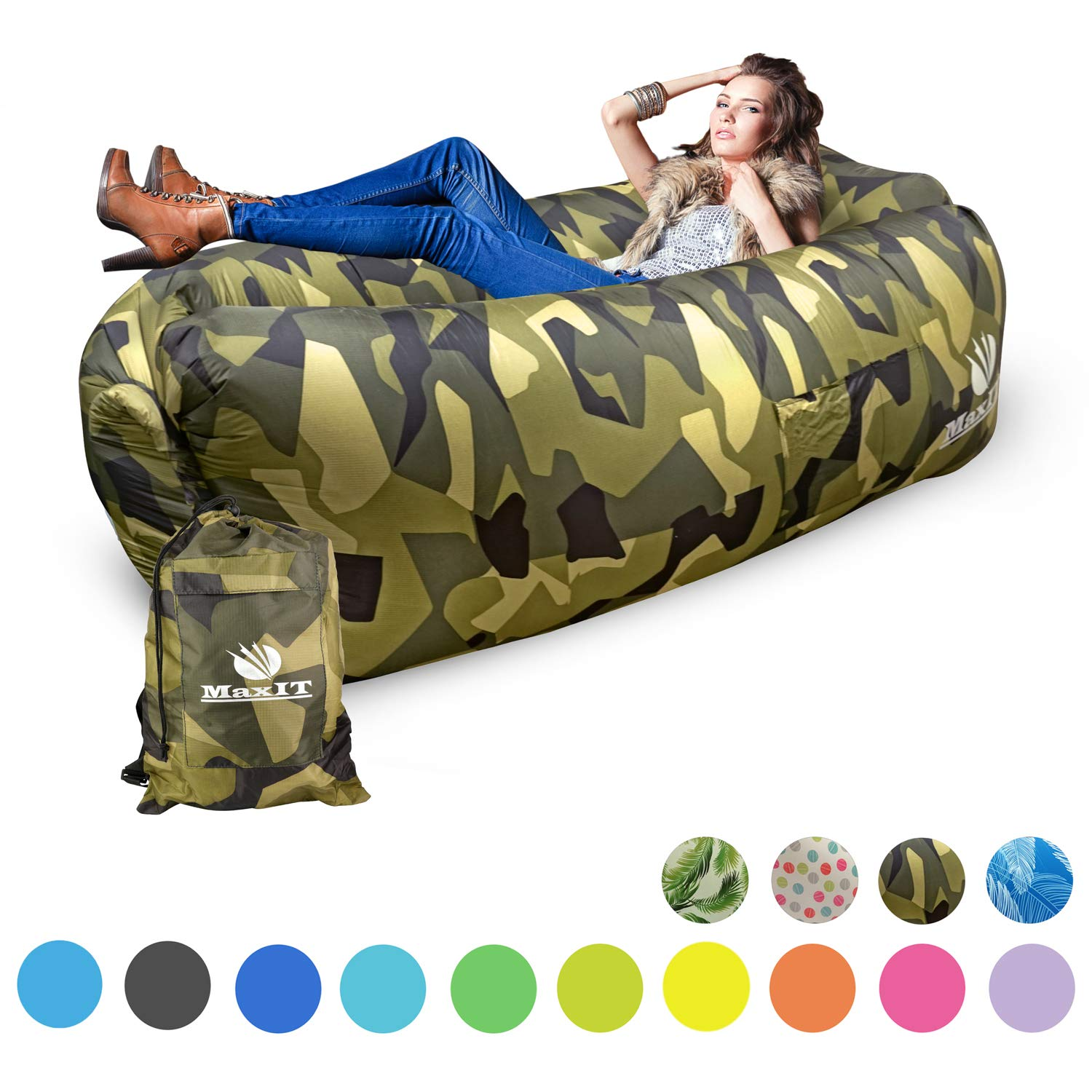 MaxIT Inflatable Hammock Sofa | Pool Floating Air Lounger Bed for Adults or Kids, Perfect for Tanning or Relaxing in The Sun | Easy to Inflate and Puncture Resistant (Camouflage) by MAXIT