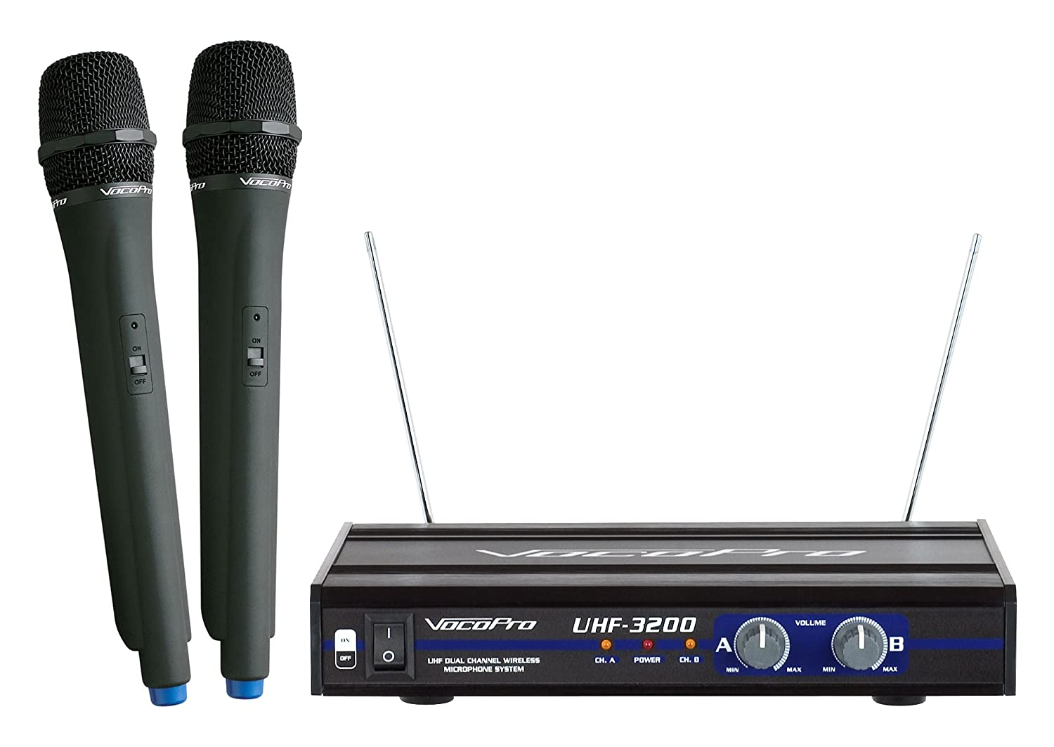 Amazon.com: VocoPro UHF-3200 UHF-Dual Channel Wireless Microphone System:  Musical Instruments
