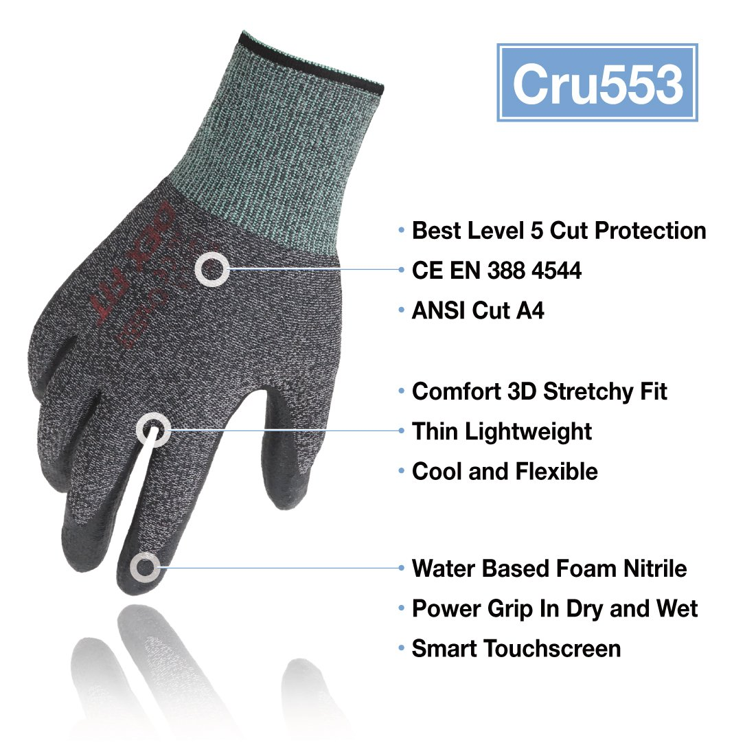 DEX FIT Utility 3D Cut Safety Gloves CR533, Comfort Stretch Fit, Power Grip, Smart Touch, Thin & Lightweight, Washable… 2
