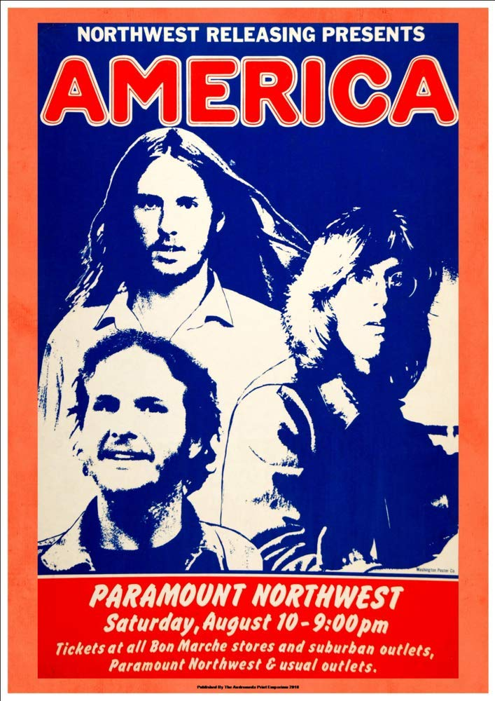 America at the Paramount Northwest Fantastic A4 Glossy Art Print Taken From A Vintage Concert Poster