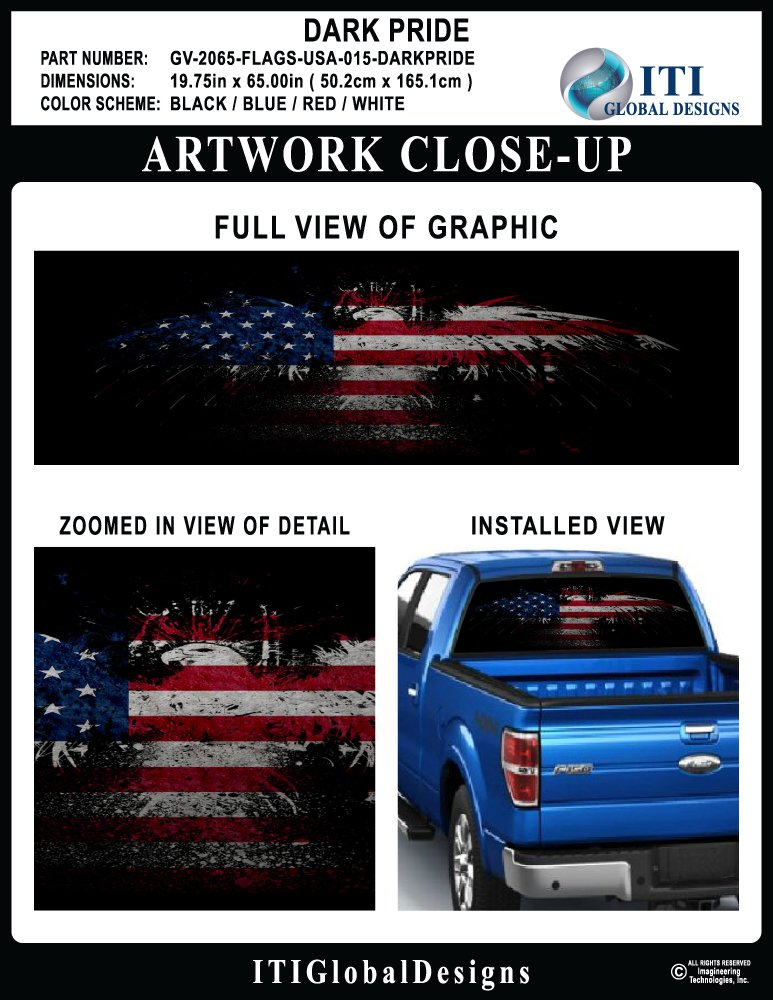 Amazon com american flag dark pride glassview by itigd truck rear window decal wrap automotive