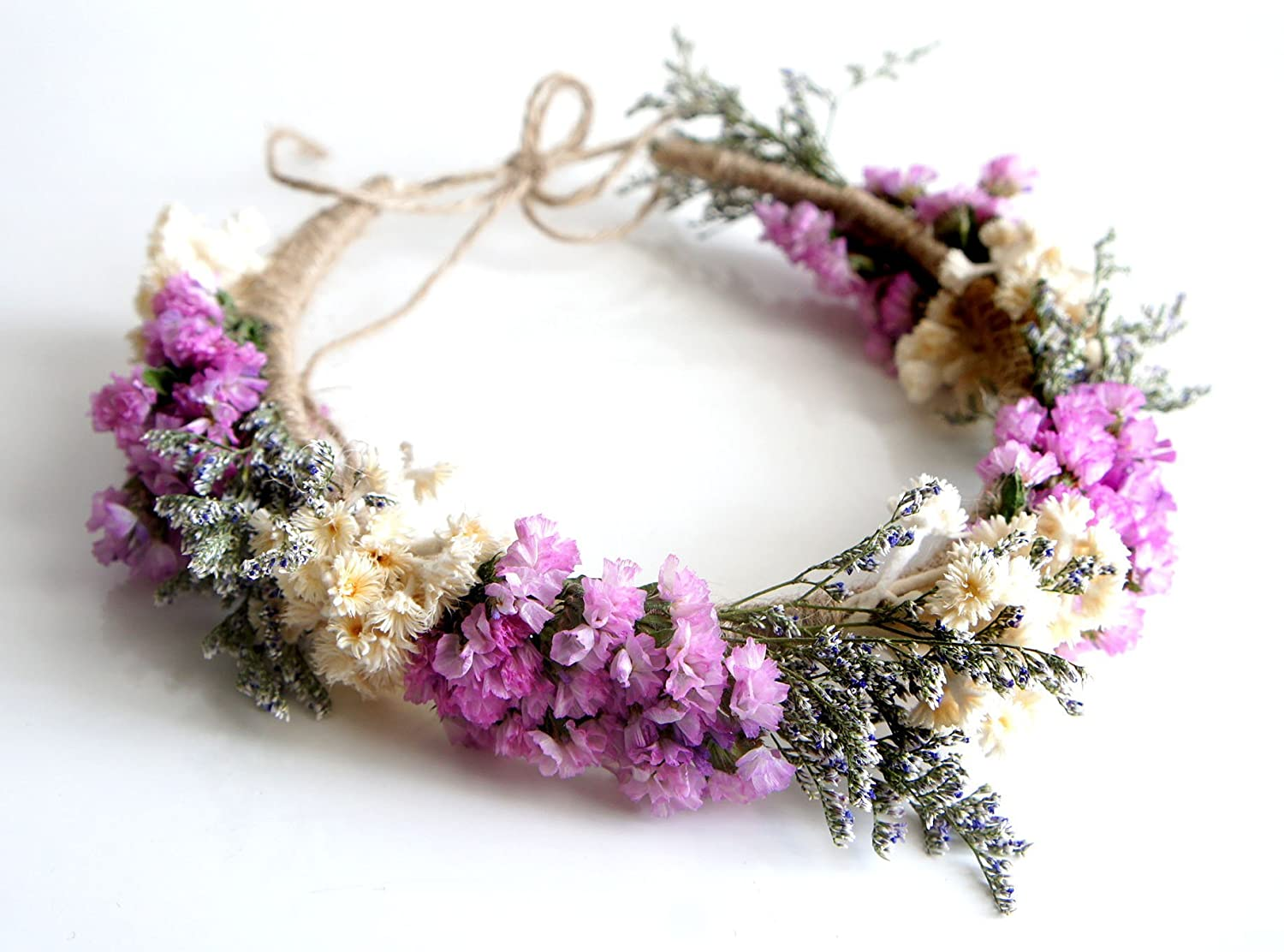 Amazon Bride Natural Pink Statice Flower Headband For Wedding