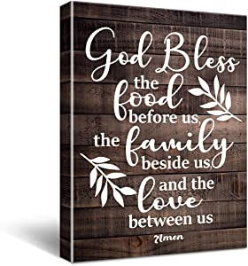 Bless The Food Before Us Amen Quote Poster Canvas Wall Art for Home/Kitchen Decor - Rustic Meal Prayer Sign Faith Sayings Farmhouse Canvas Print Wall Art Painting Ready to Hang Decoration Gifts - Easel & Hanging Hook 11.5x15 Inch