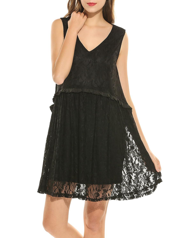 darlings Damen Sexy Kleider aus Spitzen Sommerkleid Ärmellos Minikleid V-Ausschnitt Casual Cocktailkleider Kurz Party Kleid Abendkleid Ballkleid