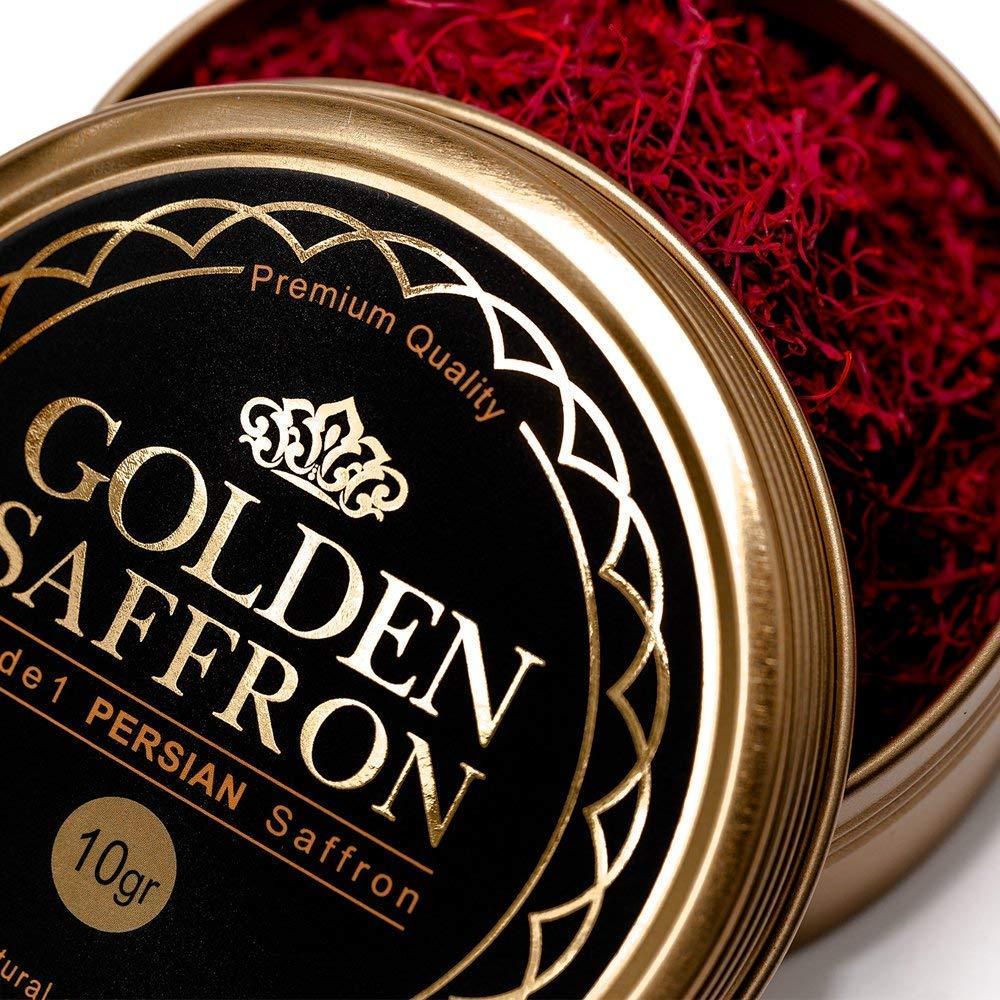Golden Saffron, Finest Pure Premium All Red Saffron Threads, Grade A+, Highest Grade Saffron For Tea, Paella, Rice, Desserts, No artificial, No Preservatives (10 Grams)