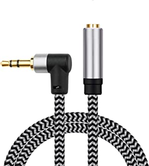 Morelecs Right Angle Aux Extension Cable 4ft 3.5mm 1/8 Aux Stereo Audio Cable Male to Female Stereo Audio Extension Adapter Cable Nylon Braided AUX Cord Compatible Phones, Headphones,Speakers,PC
