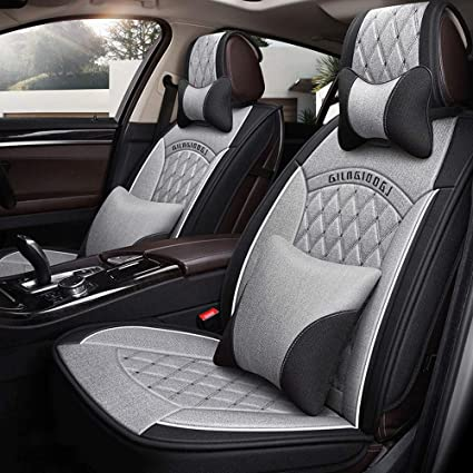 Color : Gray DaFei Car Seat Covers 5 Seat Front & Rear Full Set Universal Compatible Airbags Breathable Cotton and Linen Comfort Protector Cushion
