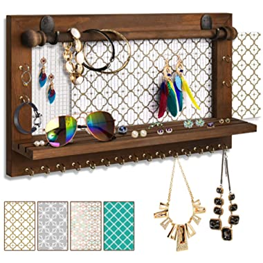VIEFIN Wall Mounted Mesh Jewelry Organizer, Rustic Brown Wood Chic Earring Holder with Shelf, Hanging Hook for Necklace, Removable Rod for Bracelet(Brown,Improved)