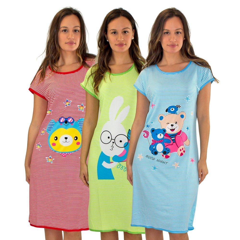 #5012 3 Pack: Short Sleeve Nightshirt/Sleep Shirt For Women Below The Knee Long Length Sleepwear RED SUNGLASS BEAR,GREEN BUNNY,BLUE TEDDY BEAR,Set 3 - XL