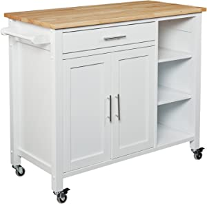 SEI Furniture Rolling Kitchen Cart Island - Fixed Shelves w/Cabinet - White Finish w/Wood Top