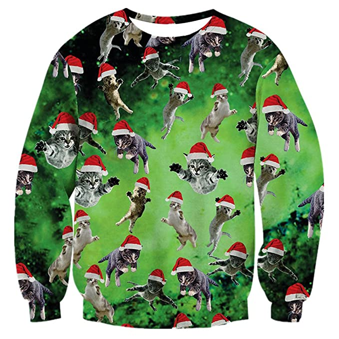 RAISEVERN Unisex Funny Print Ugly Christmas Sweaters Cat Design