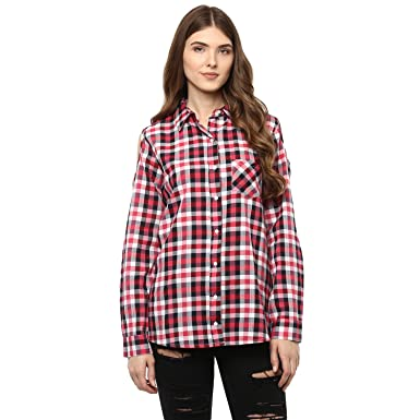 50d35903fe6e0 One Femme Women s Cotton Plaid Full- Sleeve Cold Shoulder Shirt  (OFSRF023 Multicolor 20 XX-Small