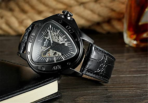 Amazon.com: Luxury Men Automatic Self Wind Mechanical Wrist Watches Top Brand Triangle Black Case Silver Movement Mens Watches Reloj Hombre: Watches