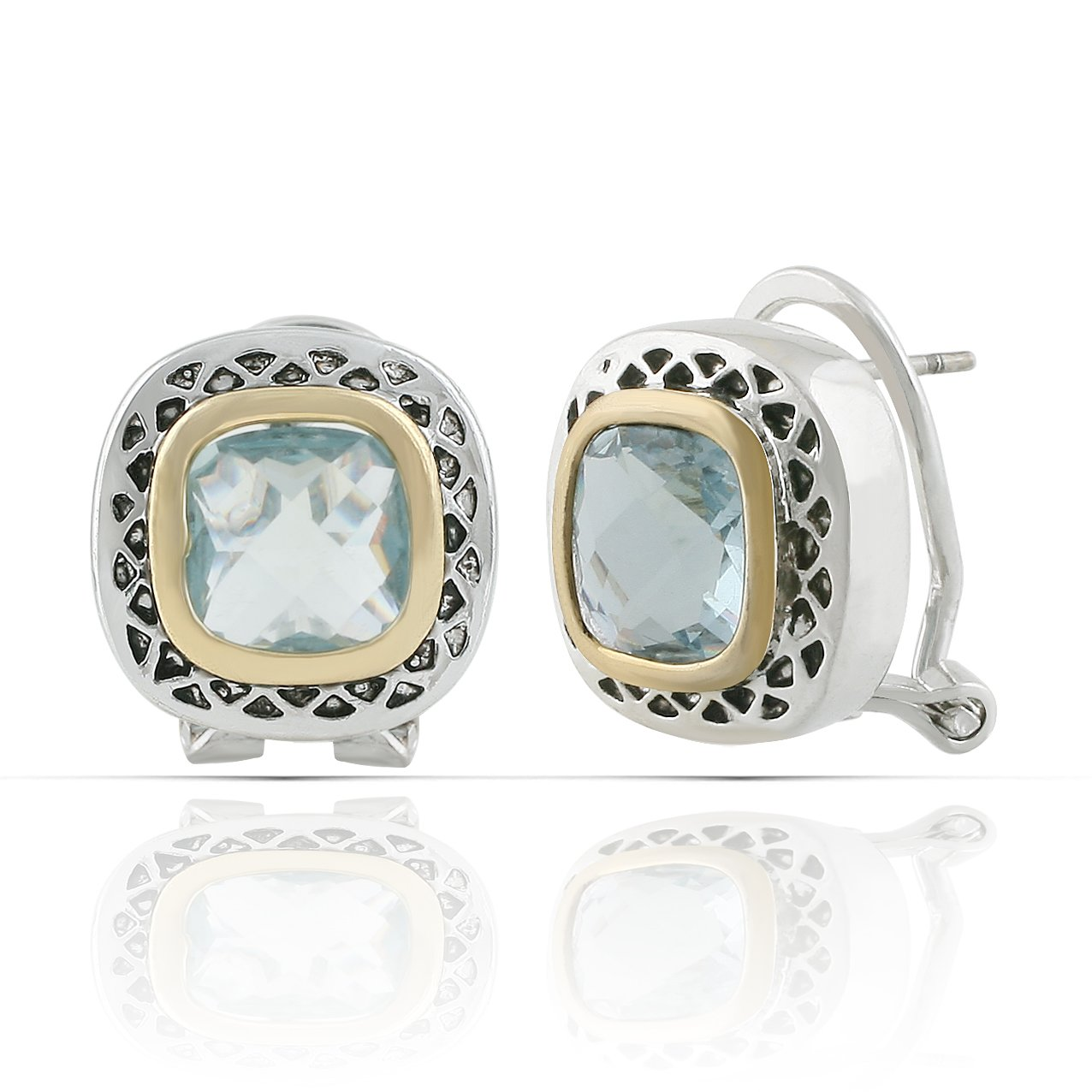 JanKuo Jewelry Two Tone Antique Vintage Style Aquamarine Color French Clip Earrings