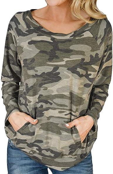 Suéter Mujer Manga Larga sin Mangas con Cuello Redondo y Estampado Camuflaje Redondo Suelto Blusa Jerseys Stripe Shirt Otoño Verano Playa y Fiesta riou: Amazon.es: Ropa y accesorios
