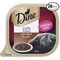 Dine Cuts in Gravy with Beef and Liver Wet Cat Food 85g, 28 Pack