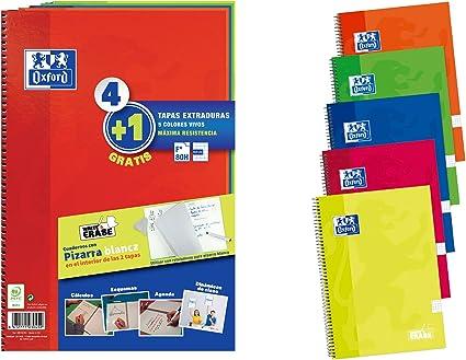 Pack 4+1 Cuadernos Folio(A4) Oxford. Tapa Extradura Write&Erase ...