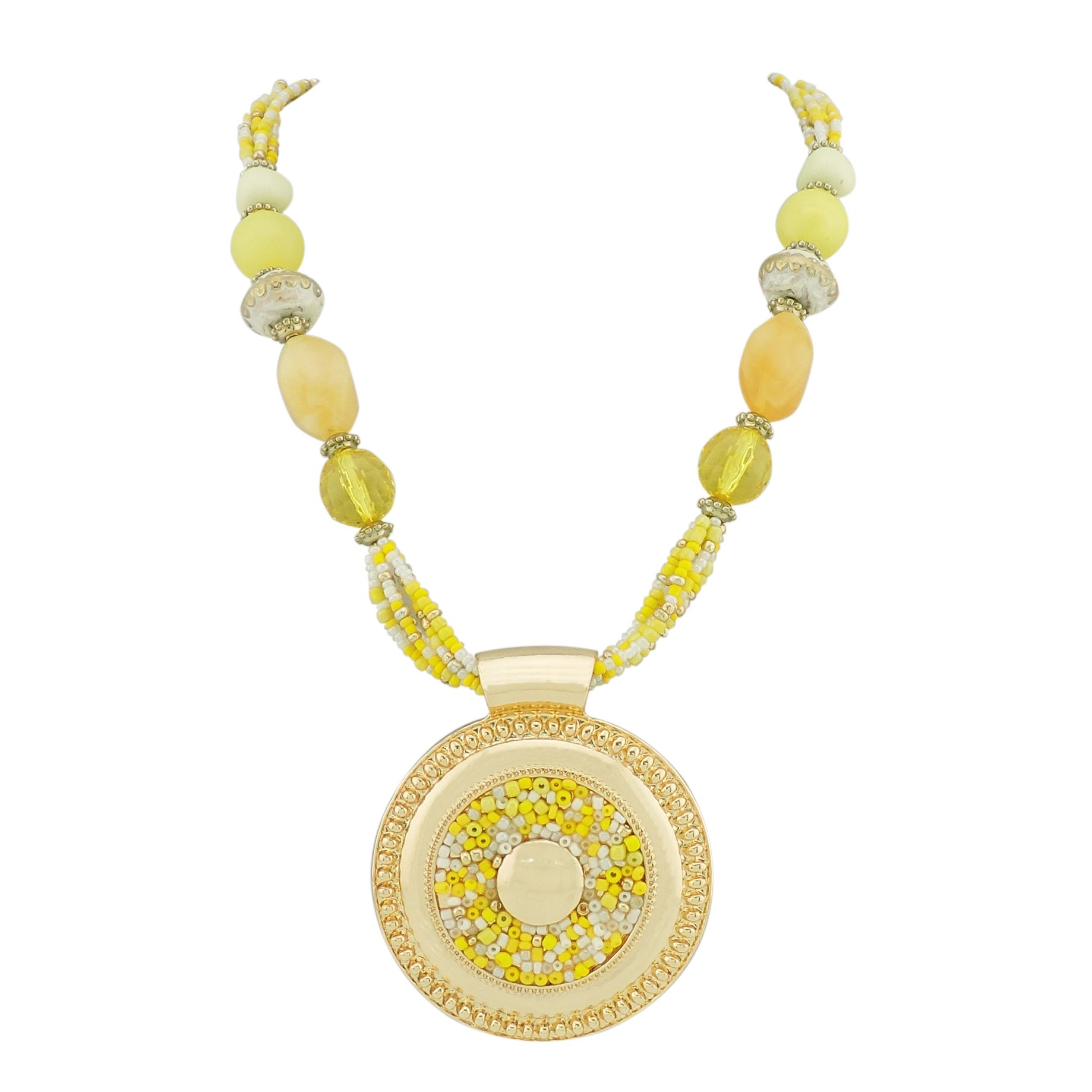 BOCAR Statement Seed Beads Chunky Collar Pendant Necklace (NK-10343-yellow)