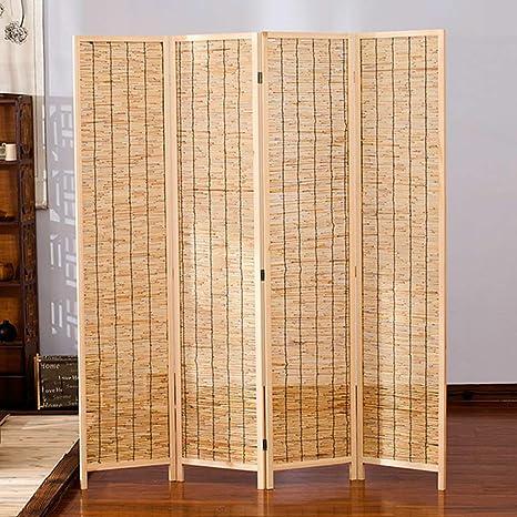 EVEN Divisor / pantalla de sala de 4 paneles, cortina de láminas, Bambú decorativo independiente, tejido, plegable, pantalla de privacidad, divisor de habitación, porche, pantalla de bambú de madera: Amazon.es: Hogar
