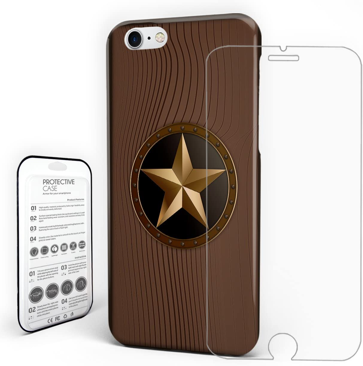 For iPhone 8 Case Cover Western Texas Star On Brown Wood Barn Print Protection Design Protective Back Cover With Tempered Glass Screen