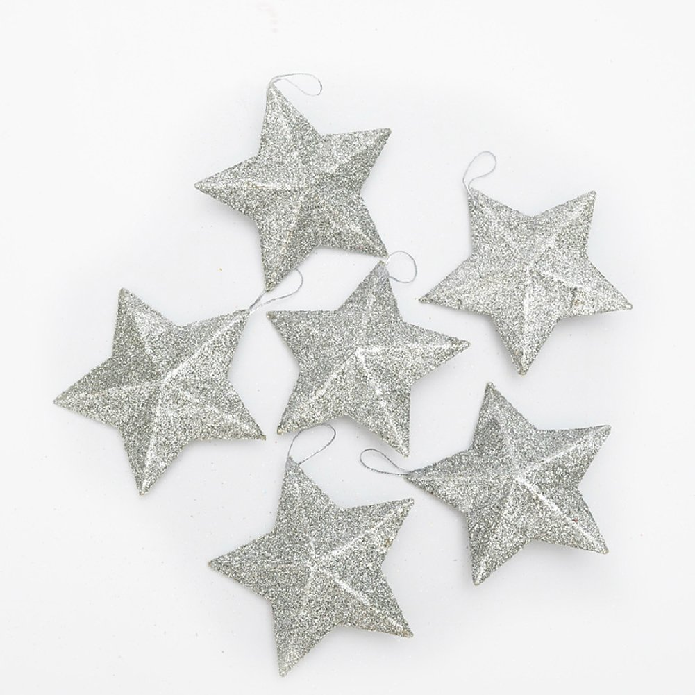 Silver Glitter Stars Hanging Christmas Ornaments Set of 12 | ChristmasTablescapeDecor.com