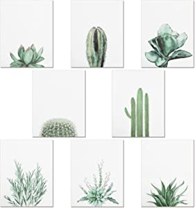 Moukeren 8 Pieces Botanical Plant Wall Art Prints, Cactus Wall Art, Minimalist Boho Wall Decor, Plant Wall Decor, Framed Canvas Pictures Contemporary Watercolor Artwork for Home Office, 8 x 10 Inch