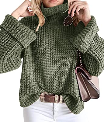 Image Unavailable. Image not available for. Color  Womens Oversized  Turtleneck Sweaters Boho Baggy Chunky Cable Knitwear Pullover Tops 1e57e3ef9