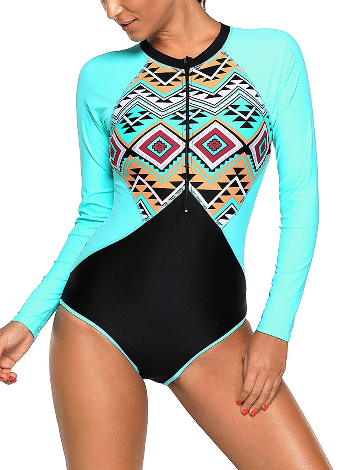 EVALESS Women's Zip Front Printed Long-Sleeve Rash Guard Shirt One Piece Swimsuit D410480