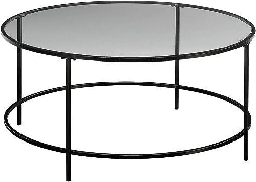Sauder Harvey Park Coffee Table, Black Clear Glass