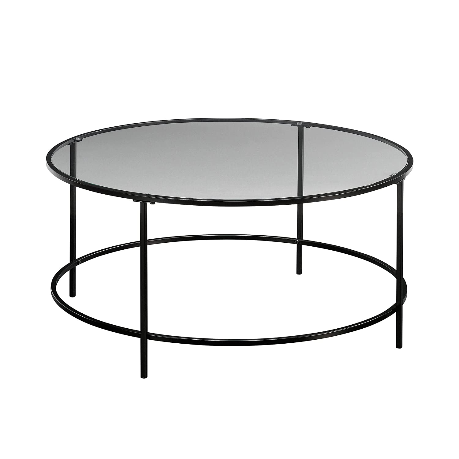 Surprising Sauder Soft Modern Round Coffee Table Black Clear Glass Home Interior And Landscaping Mentranervesignezvosmurscom