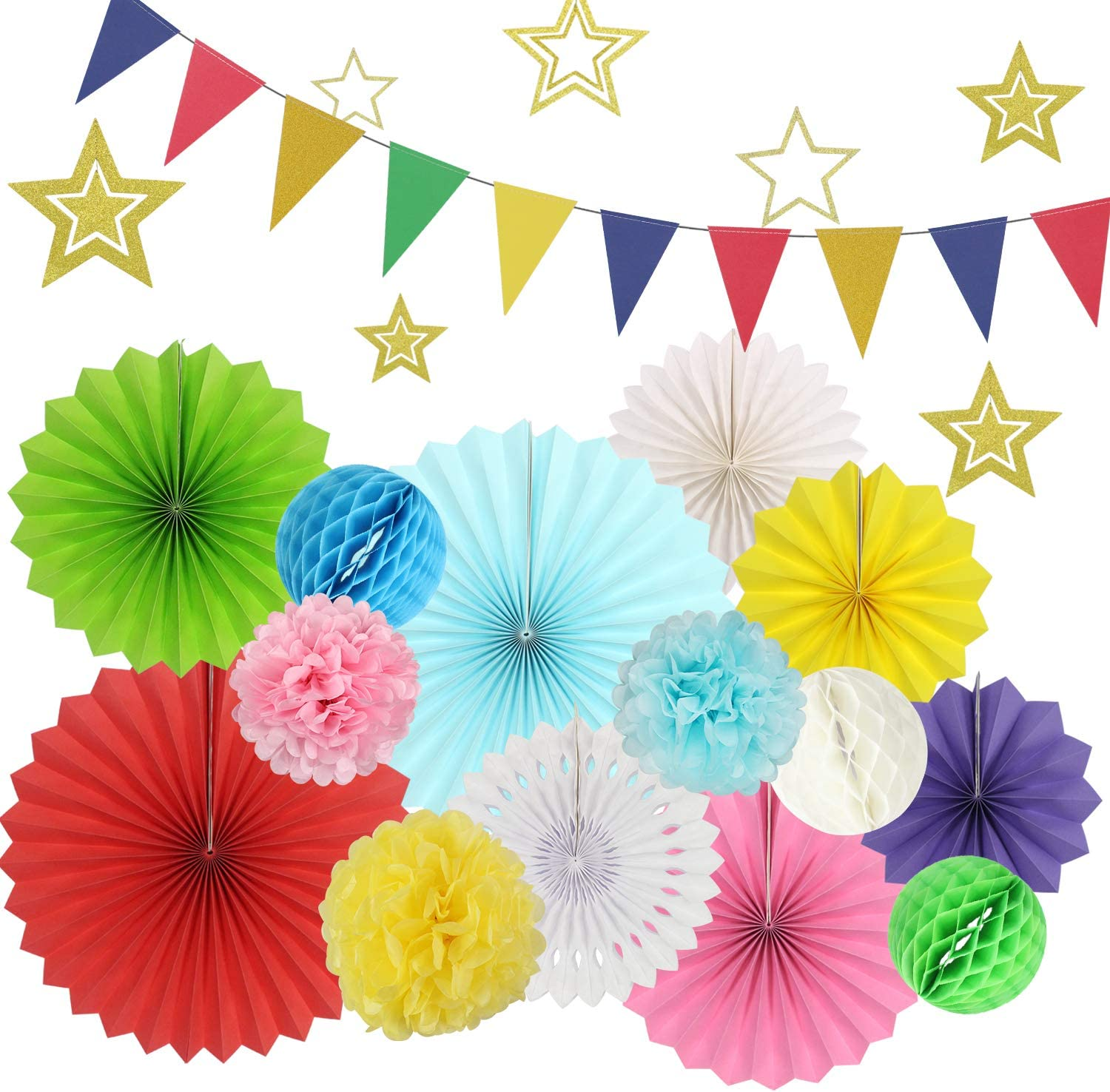 Party Decoration Set 22Pcs Multicolor Hanging Paper Fans Pom Poms Flowers Honeycomb Ball Gold Star and Triangle Bunting Flags for Fiesta Mexican Cinco De Mayo Baby Shower Birthday Wedding Decor