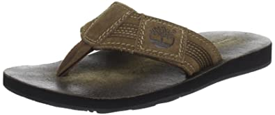159b7e718624 Timberland EK Flip Flop FTM EK FlipFlop Fabric Leather Thong Flip-Flops  Mens Brown Braun