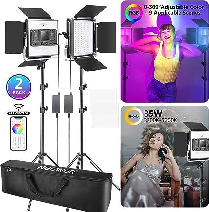 Neewer 2 Packs luz LED RGB 530 con Control App Kit Iluminación Video y Fotografía con Soportes y Bolsa 528 SMD LED CRI95 / 3200K-5600K / Brillo 0-100% / 0-360 Colores Ajustables: Amazon.es: Electrónica