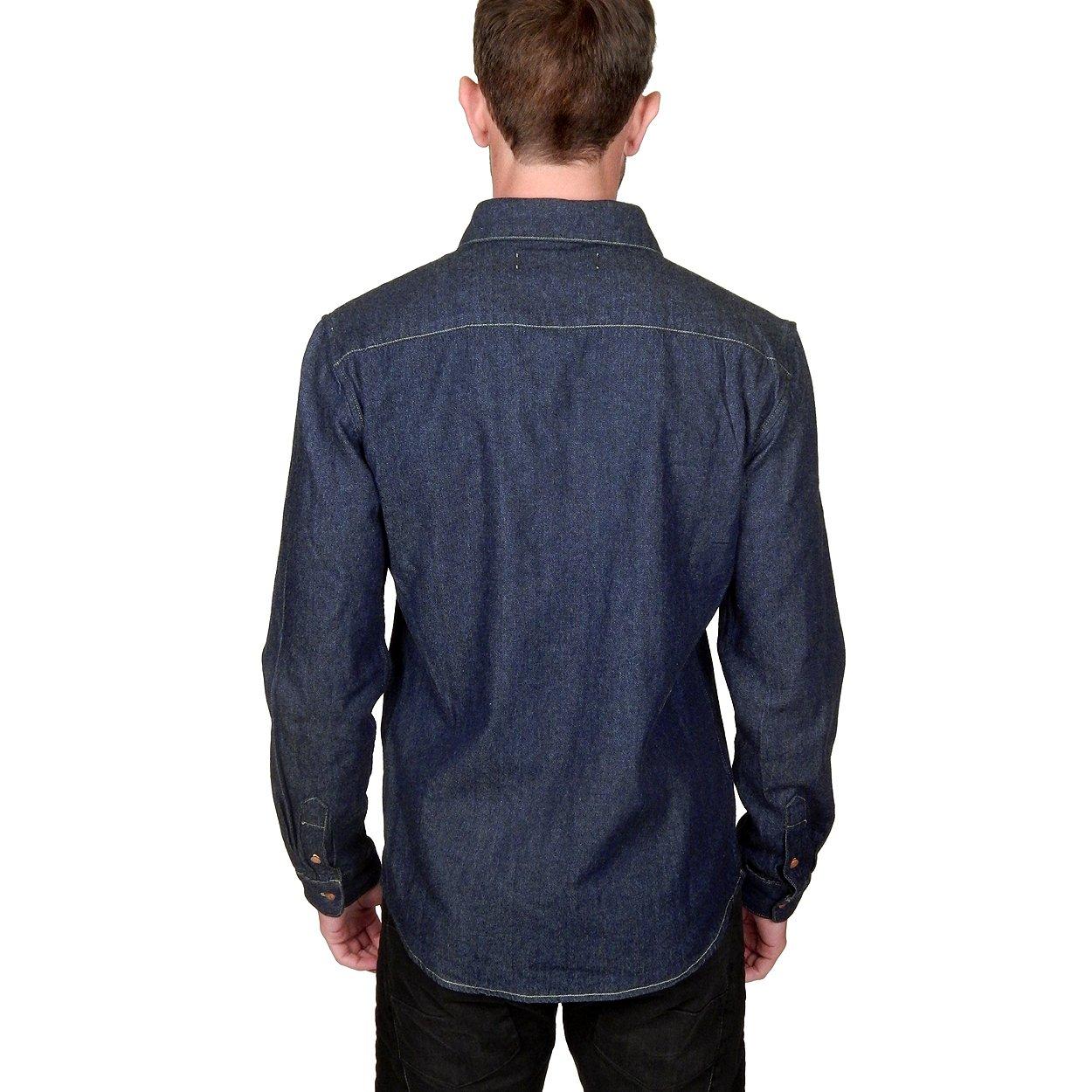 4961048fd12 Prospective Flow Men s Lyon Denim Shirt in Indigo at Amazon Men s Clothing  store
