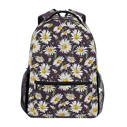 17d40fe8b8ec Amazon.com : Watercolor Floral Pattern Daisy White Gentle Backpack ...
