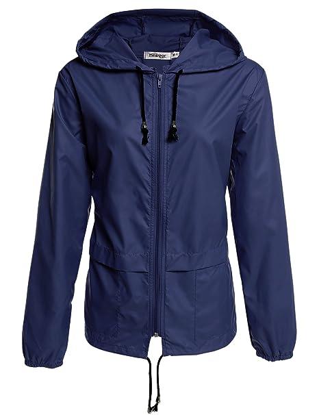 Meaneor - Abrigo impermeable - para mujer azul marine